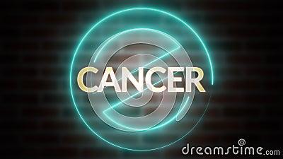 трехмерная отрисовка текста CANCER на фоне кирпича, компьютерный символ wireframe останавливается с помощью светящегося лазера видеоматериал