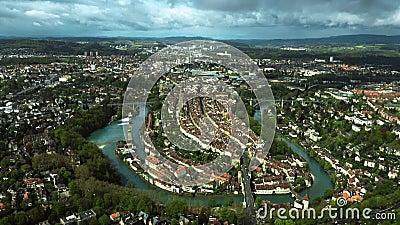 Устанавливать воздушную съемку Bern, Швейцария видеоматериал