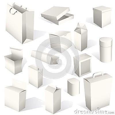 установленные пакеты коробок