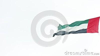 Флаги Объениненных Арабских Эмиратов развевая в городе Абу-Даби против ясного неба сток-видео