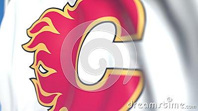 Флаг с логотипом команды по хоккею на траве Calgary Flames NHL, близкий. Редакто бесплатная иллюстрация