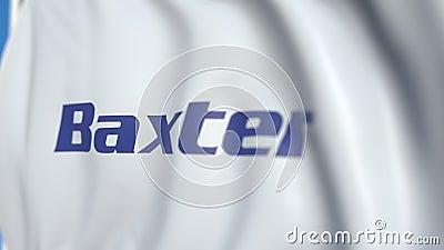 Флаг с логотипом Baxter International Редакторская трехмерная анимация с возможностью цикла иллюстрация вектора