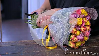 Флорист женщины режет пук стержней роз с pruner в цветочном магазине, clsoeup рук акции видеоматериалы