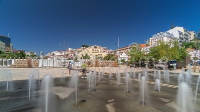 фонтан на площади мартима мониза таймелапс гиперлапс в центре лиссабона акции видеоматериалы