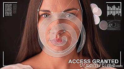 Футуристическая и технологическая сканирование стороны красивой женщины для лицевого опознавания и просмотренного человека, будущ акции видеоматериалы
