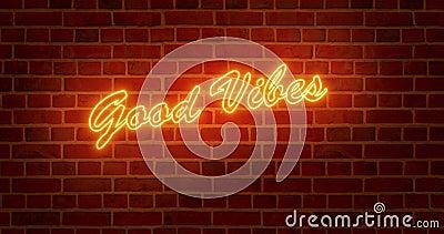 хороший знак vibes neon означает позитивный и счастливый образ жизни - 4k акции видеоматериалы