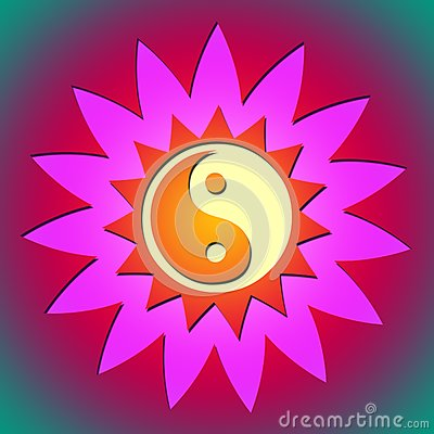 Цветок & солнце Ying yang