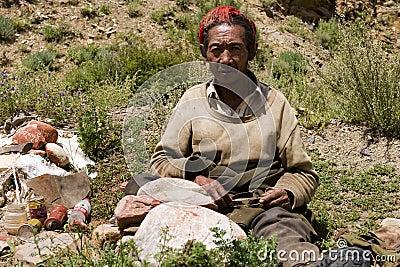 человек Тибет Редакционное Стоковое Фото