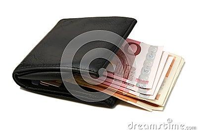 черный кожаный бумажник