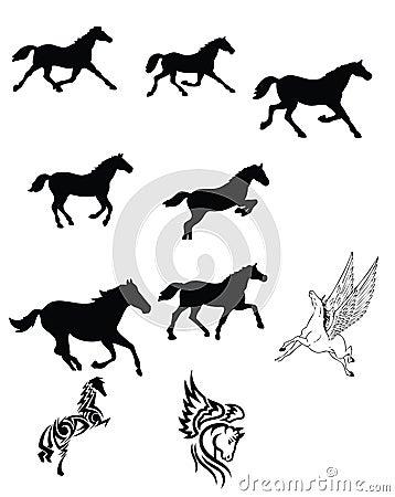 черный комплект лошади