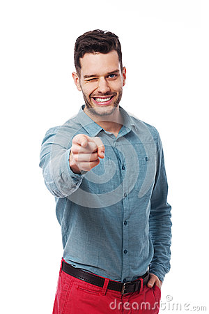 Человек указывая на вас
