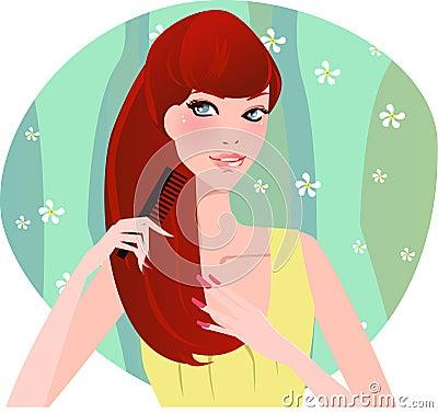 чистя щеткой волосы