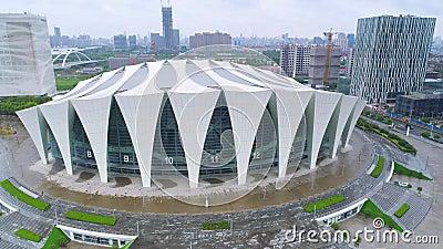 ШАНХАЙ, КИТАЙ - 6-ОЕ МАЯ 2017: Воздушное видео тумана спортивного центра 4K Шанхая восточного, сумрак сток-видео