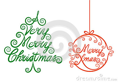 Шарик рождественской елки и xmas, вектор
