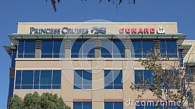 Штаб-квартира офиса Принцессы Круизс и Кунард Лайн в Санта-Кларите, Калифорния сток-видео