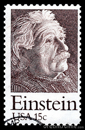 штемпель почтоваи оплата США Albert Einstein Редакционное Стоковое Фото