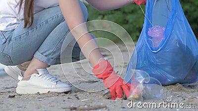 Экологичность природы заботы, добровольная девушка в резиновых перчатках собирает пластиковый хлам в сумке отброса пока очищающ п сток-видео