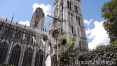 Экстерьер собора бортовой в Руане, Нормандии Франции, ЛОТКЕ сток-видео