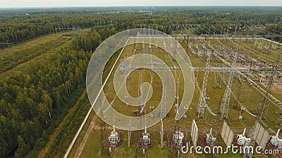 Электрическая подстанция, электростанция вид с воздуха акции видеоматериалы