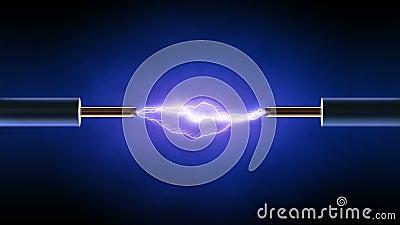 Электрическая искра между 2 закрепленными петлей медными проволоками -