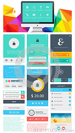 Элементы Infographics с кнопками и меню