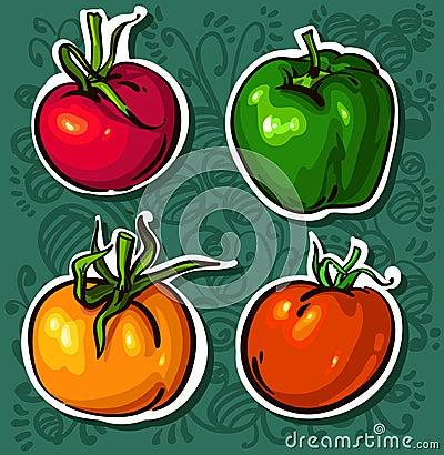 яркие вкусные овощи томатов
