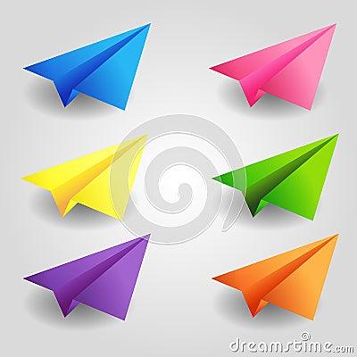 颜色纸飞机 库存例证
