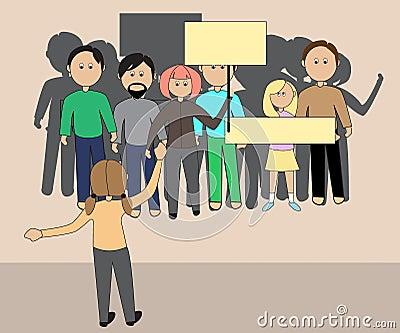 一群人集会的与横幅 向量例证图片