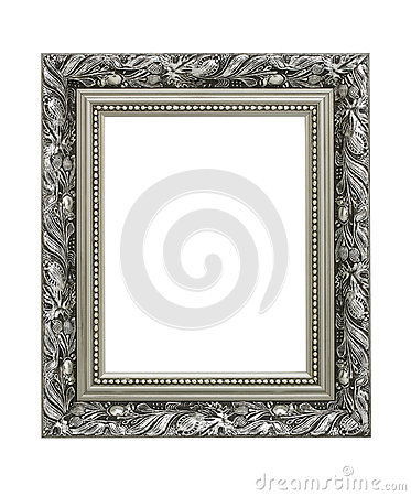 银在白色背景隔绝的被雕刻的华丽画框.图片