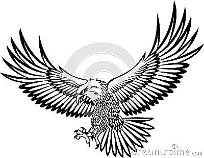 攻击的鹰例证纹身花刺.