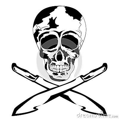 凉快的人的纹身花刺头骨传染媒介有大砍刀的,在黑白颜色的阴影对死者