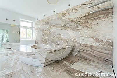 有大理石瓦片的豪华卫生间