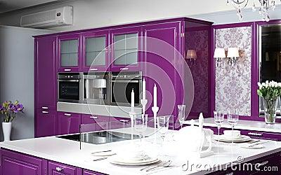有时髦的家具的现代紫色厨房