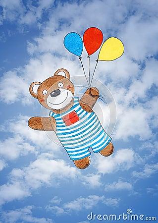 愉快的玩具熊,儿童的图画