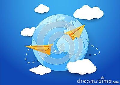 与飞机和地球的旅行背景.夹子艺术.图片