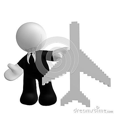 与飞行飞机符号的生意人图标