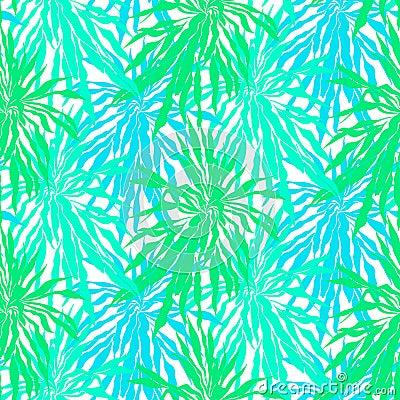 与热带棕榈叶的无缝的样式