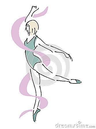 与丝带的跳芭蕾舞者图片