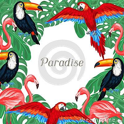 与棕榈叶的热带鸟背景设计