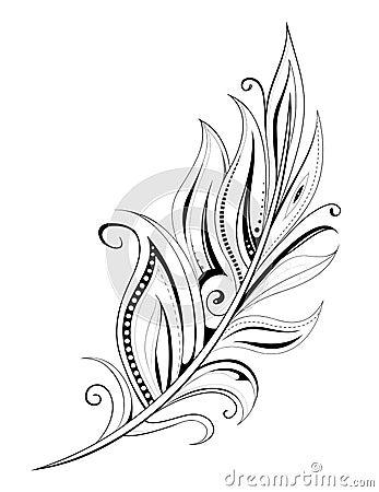 与种族元素的羽毛纹身花刺在白色.