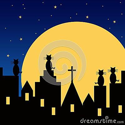 观看月亮的猫从屋顶上升