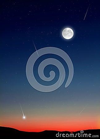 在夜空的流星图片