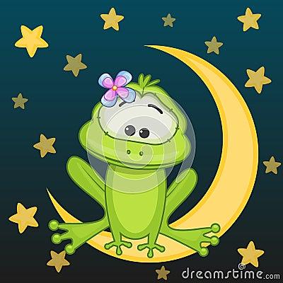 青蛙女孩坐月亮
