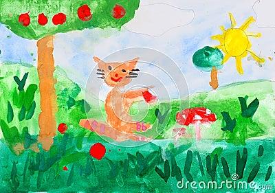 在纸张的儿童的图画