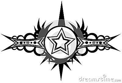 在黑白的星纹身花刺
