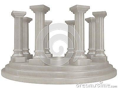雪花石膏结构上经典希腊柱子罗马圆形建筑的样式