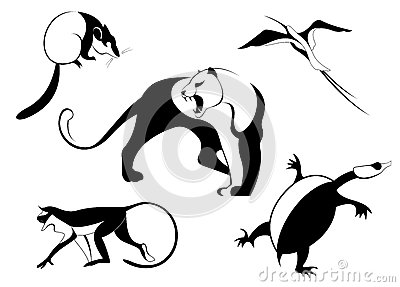 装饰动物剪影 向量例证