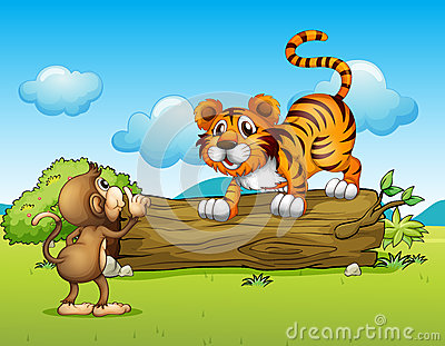 猴子和老虎 免版税库存照片
