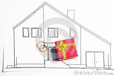 汽车房子手绘图片