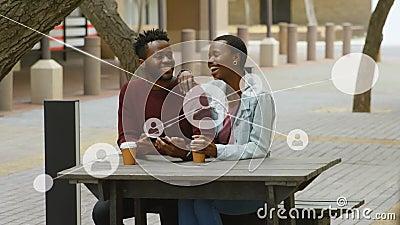 一个与非洲裔美国人偶像的关系网动画 影视素材